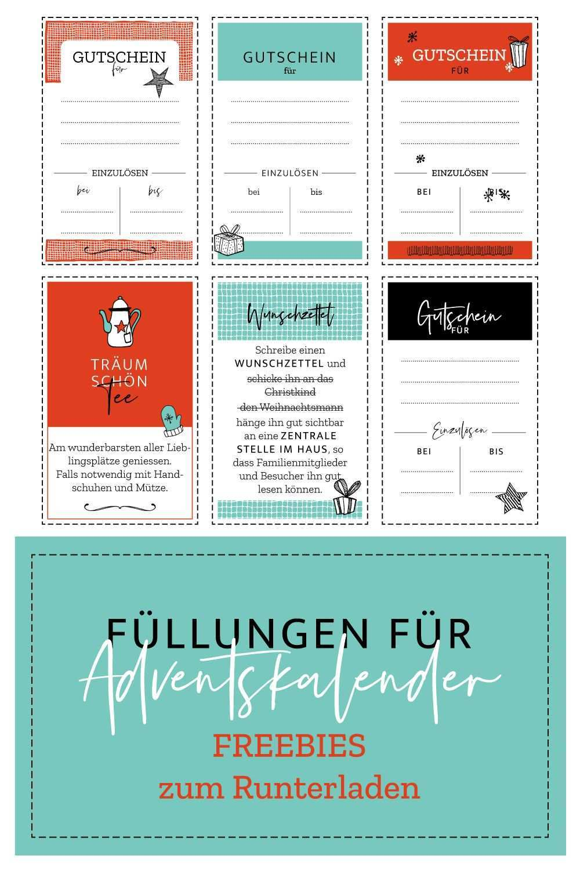 Freebie Adventskalender Fullen Adventkalender Gutschein Basteln Vorlage Gutschein Vorlage