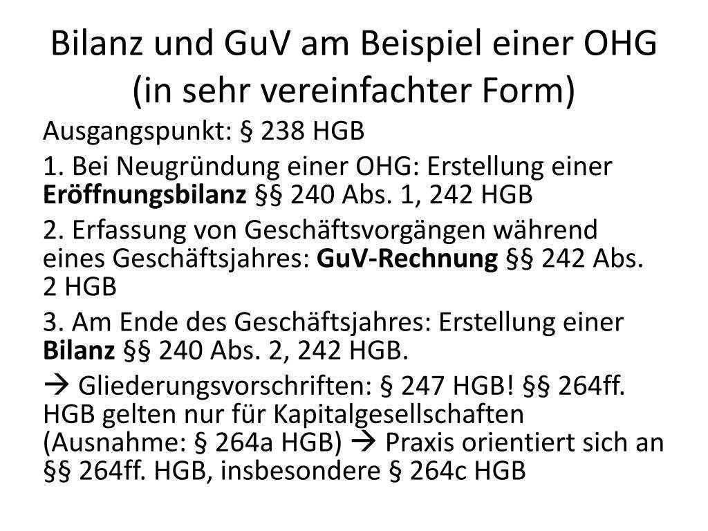 Ppt Bilanz Und Guv Am Beispiel Einer Ohg In Sehr Vereinfachter Form Powerpoint Presentation Id 2039715