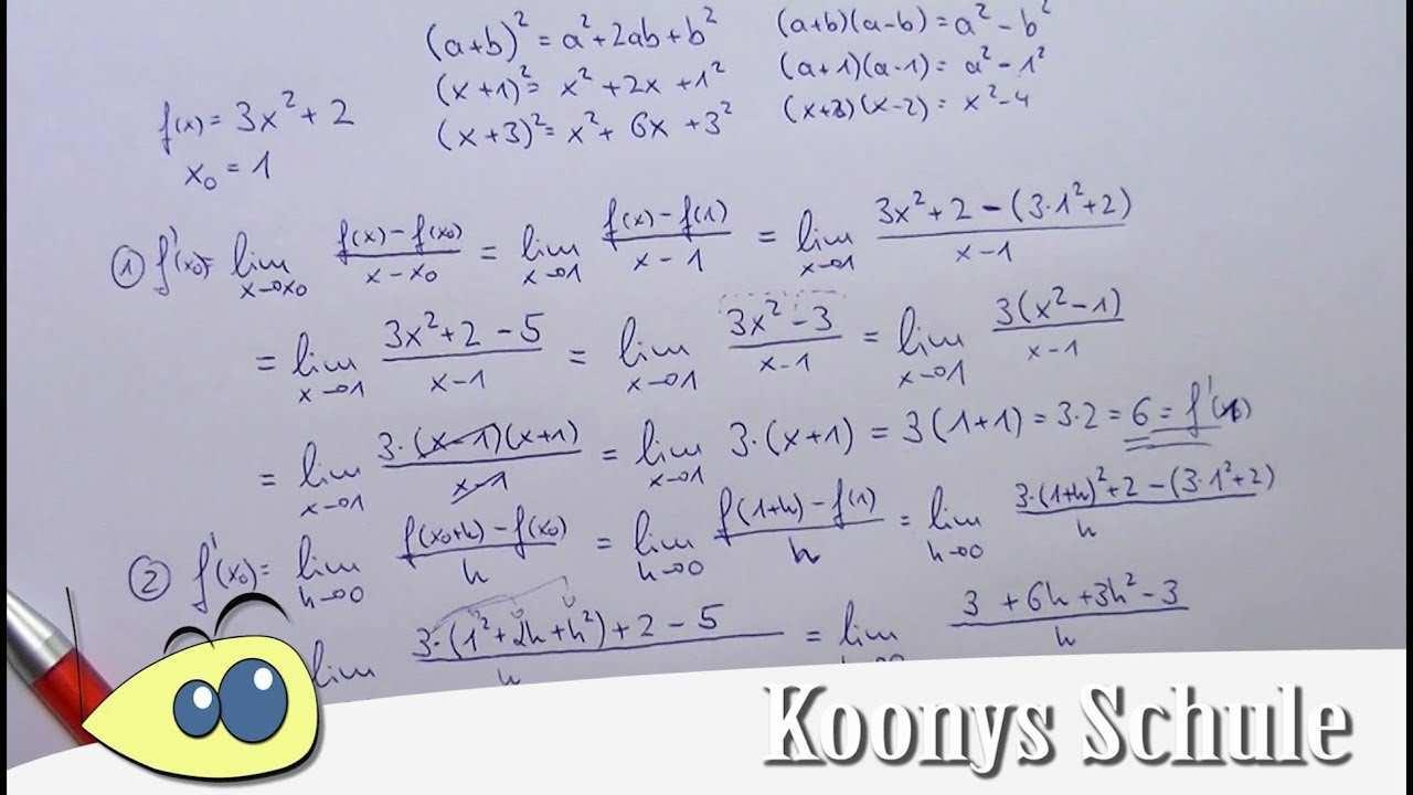 Differentialquotient Und H Methode Mit F X 3x 2 Bei X 1 Youtube