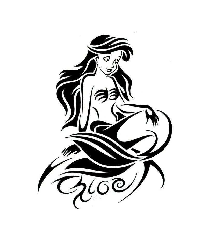 The Little Mermaid Tribal Tattoo Design By Jsharts On Deviantart Stammestattoo Designs Silhouette Tattoos Tatowierungen