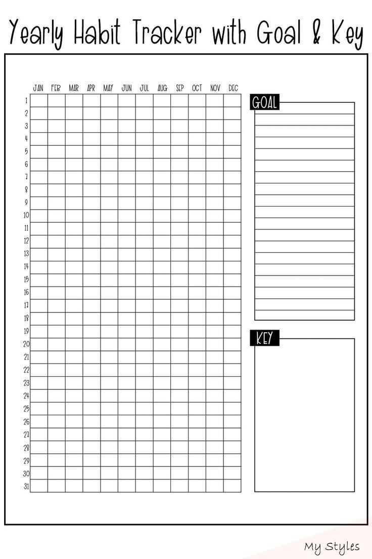 Download This Free Yearly Habit Tracker To Track One Habit All Year Long It S Available To Print For Any Size Kostenlose Druckvorlagen Vorlagen Druckvorlagen