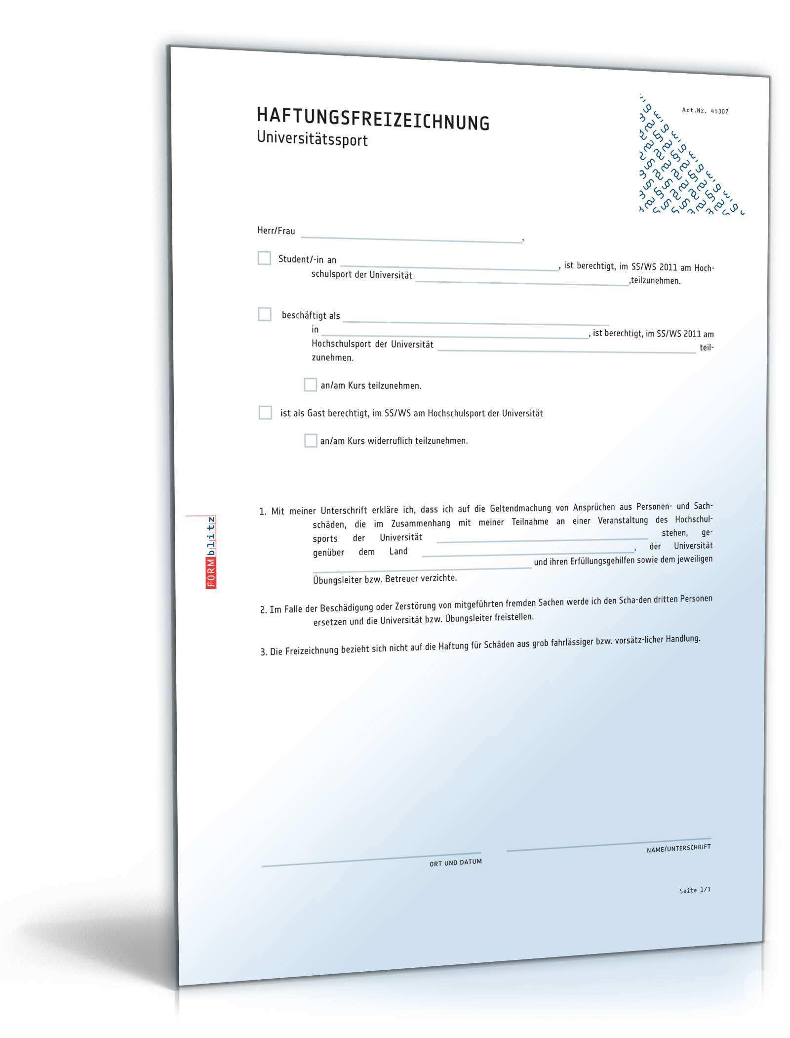 Haftungsfreizeichnung Universitatssport Muster Zum Download