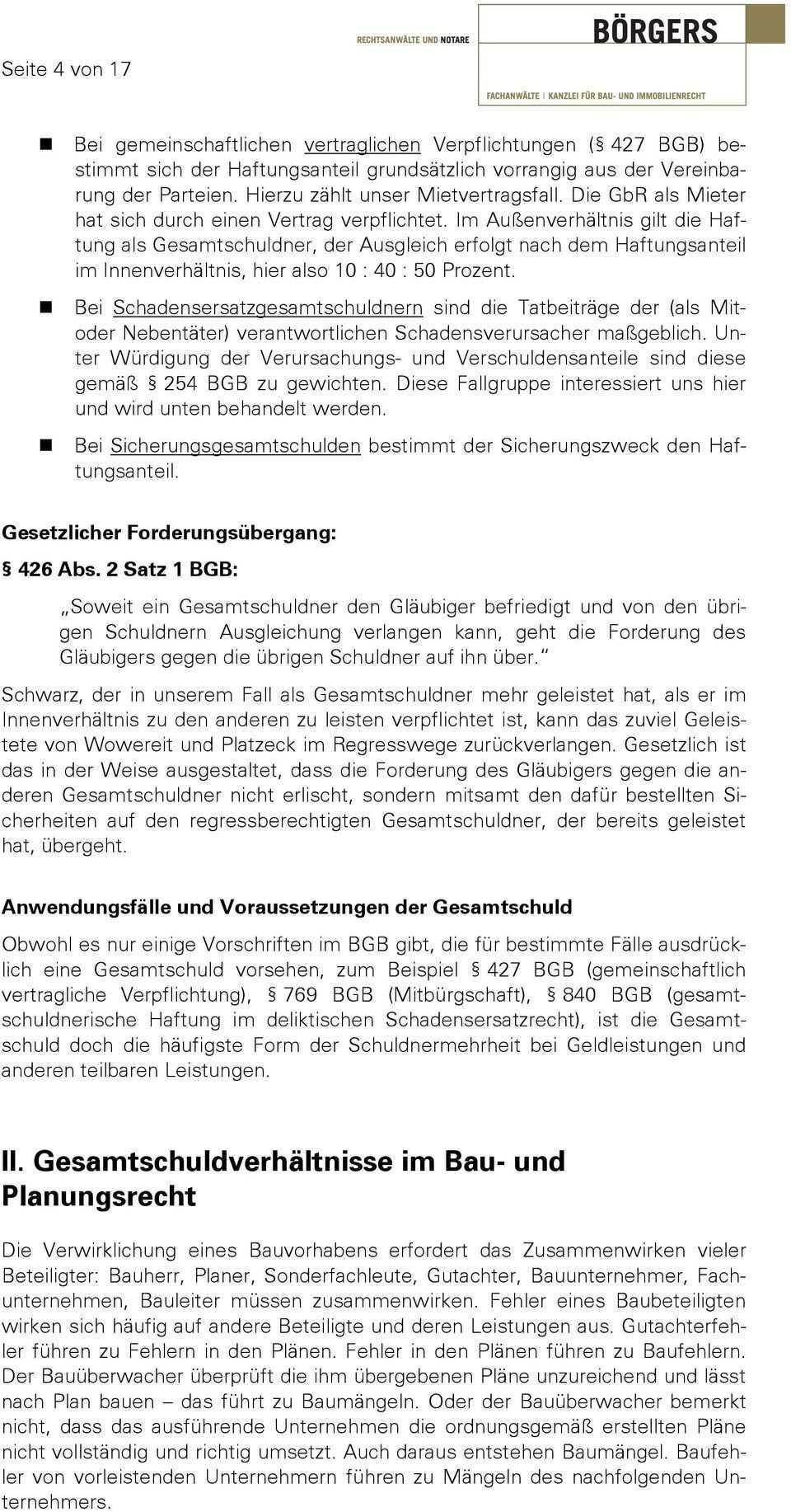Gesamtschuldnerische Haftung Vortrag An Der Brandenburgischen Ingenieurkammer Pdf Free Download