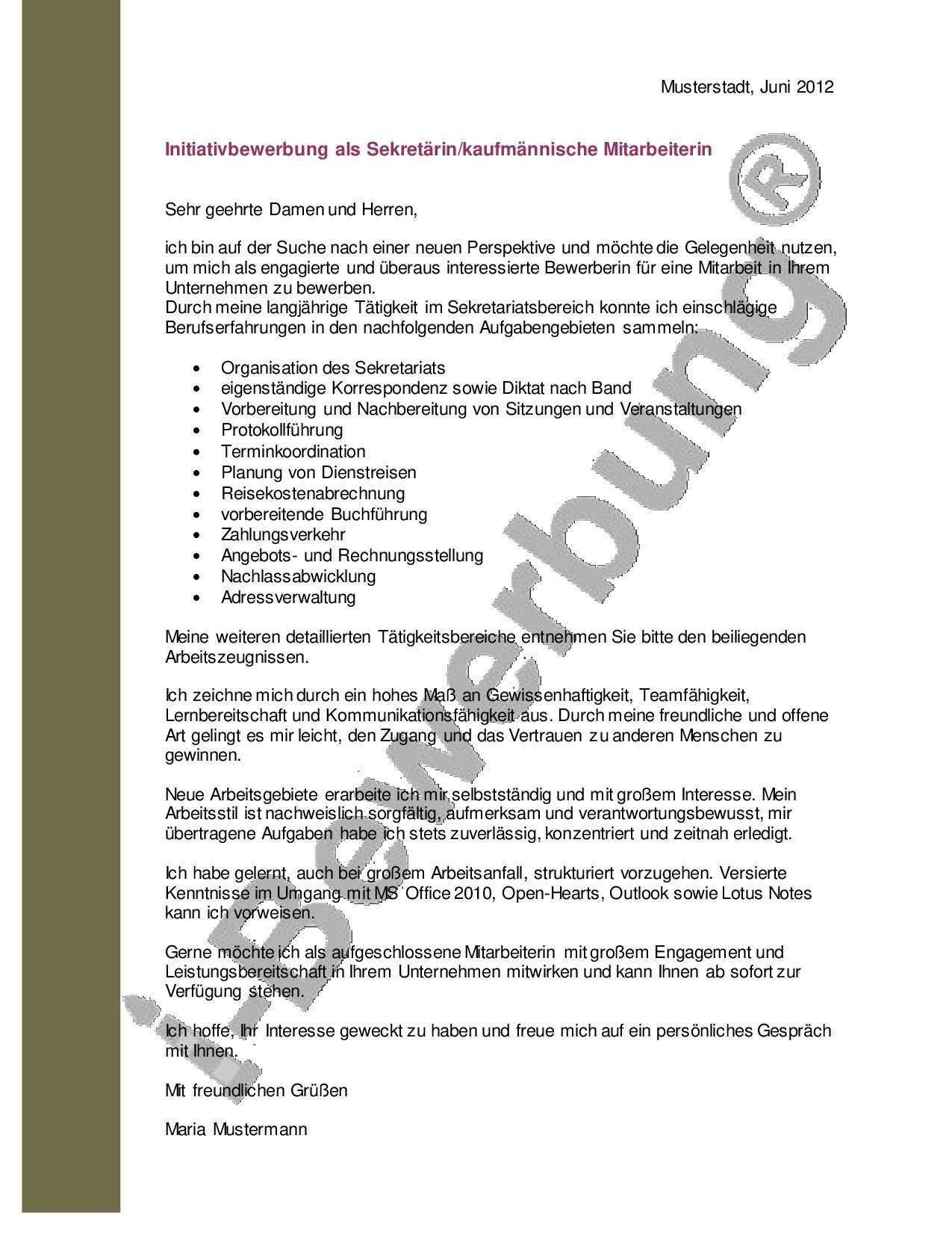 Muster Anschreiben Zur Initiativbewerbung Als Sekretarin Bewerbung Bewerbung Schreiben Bewerbung Anschreiben