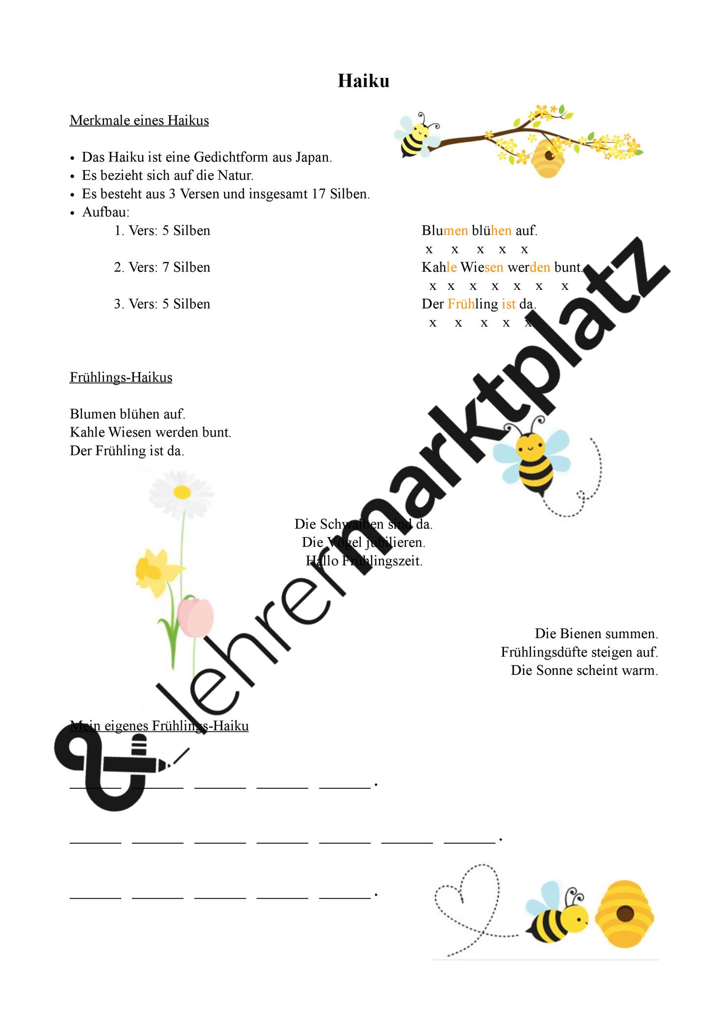 Fruhlings Haiku Unterrichtsmaterial Im Fach Deutsch Haiku Gedichtformen Unterrichtsmaterial