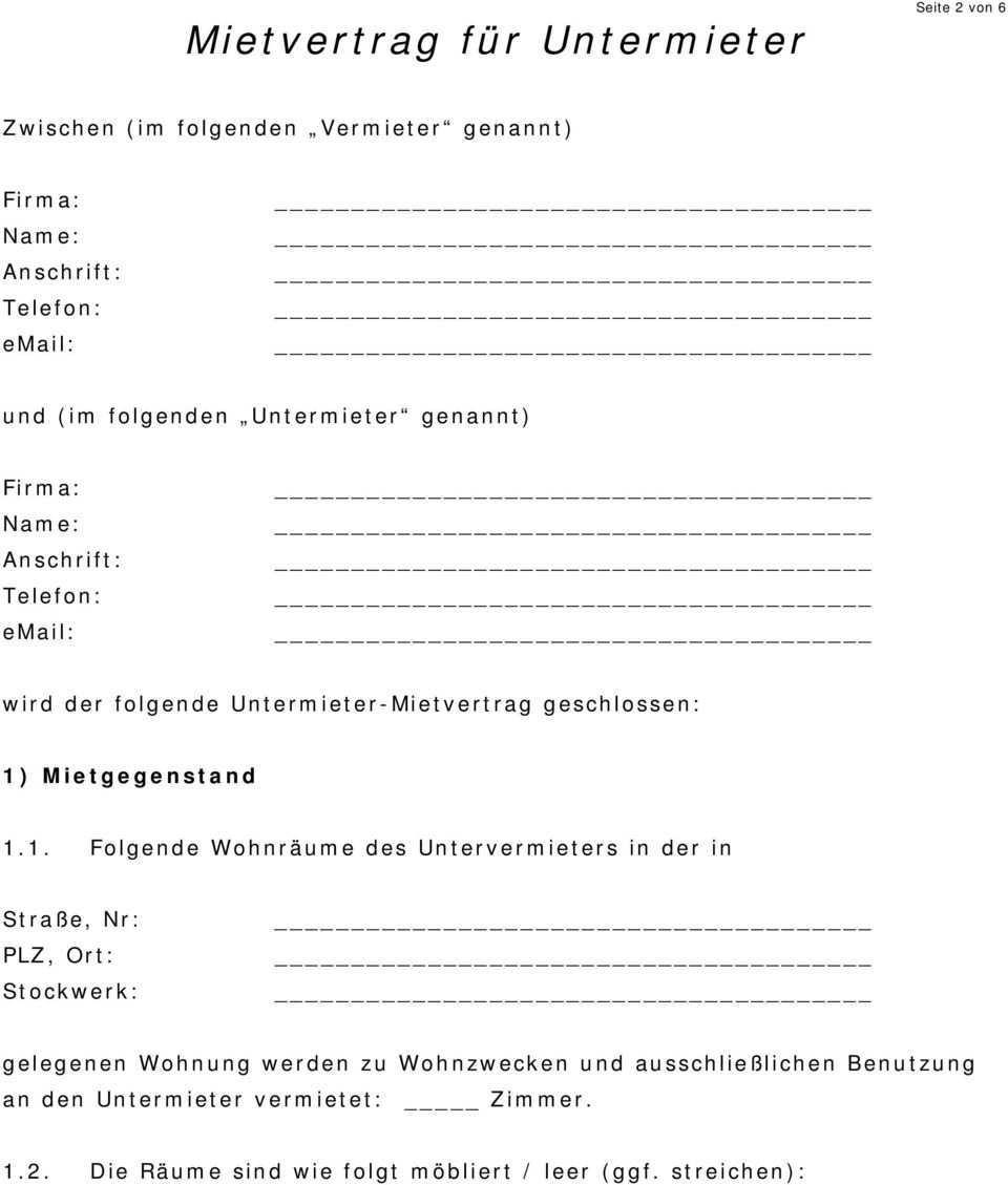 Mietvertrag Fur Untermieter Pdf Free Download