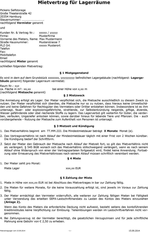 Mietvertrag Fur Lagerraume Pdf Free Download