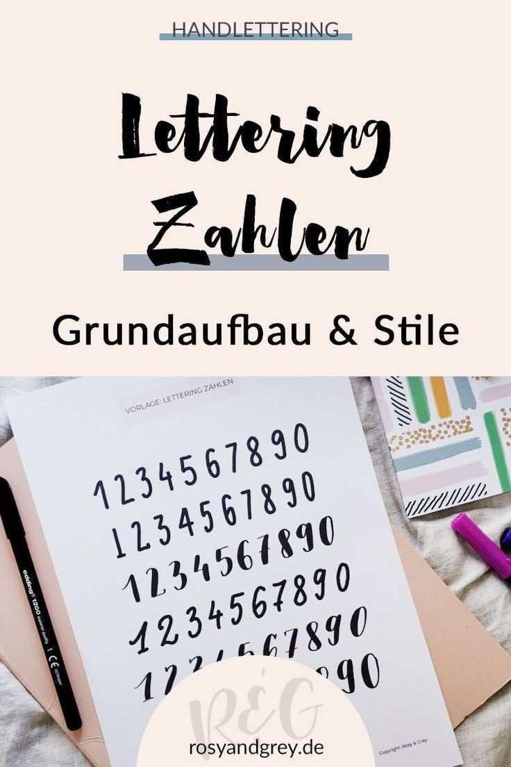 Lettering Zahlen Mit Vorlage Rosy Grey In 2020 Lettering Druckbuchstaben Vorlagen
