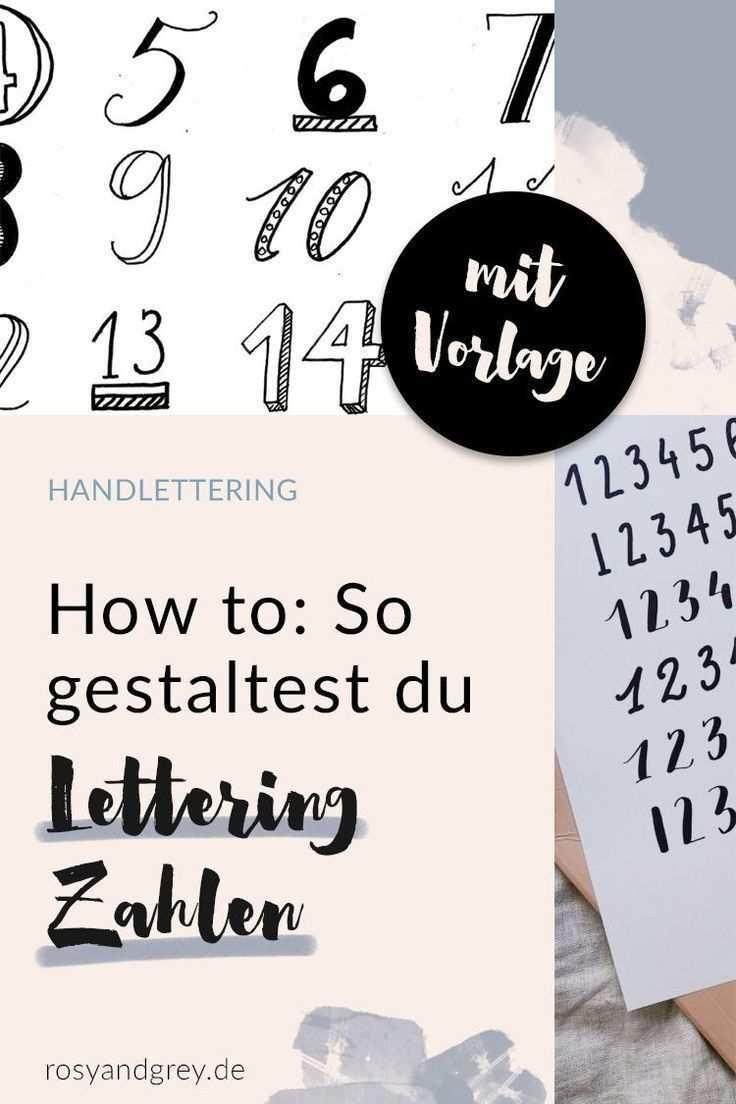 Lettering Zahlen Mit Vorlage Rosy Grey Lettering Buchstaben Schriftarten Druckbuchstaben