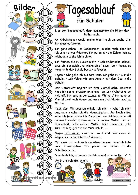 Tagesablauf Fur Schuler Mit Bildern Mit Losung Deutsch Lernen Alltagsroutinen Lernen German