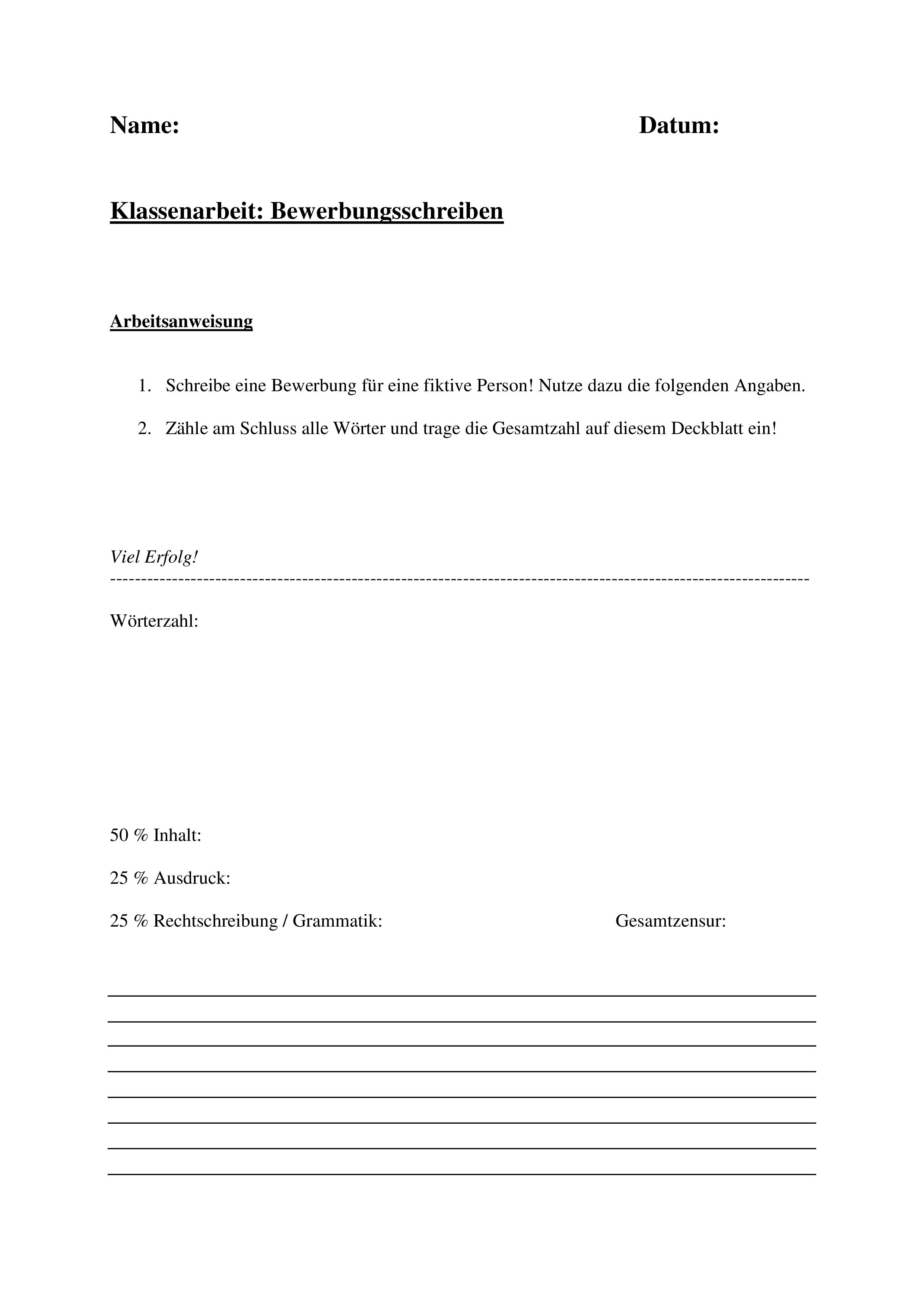 Klassenarbeit Bewerbung Einer Fiktiven Person Anschreiben Unterrichtsmaterial In Den Fachern Arbeitslehre Deutsch Klassenarbeiten Anschreiben Bewerbung Anschreiben