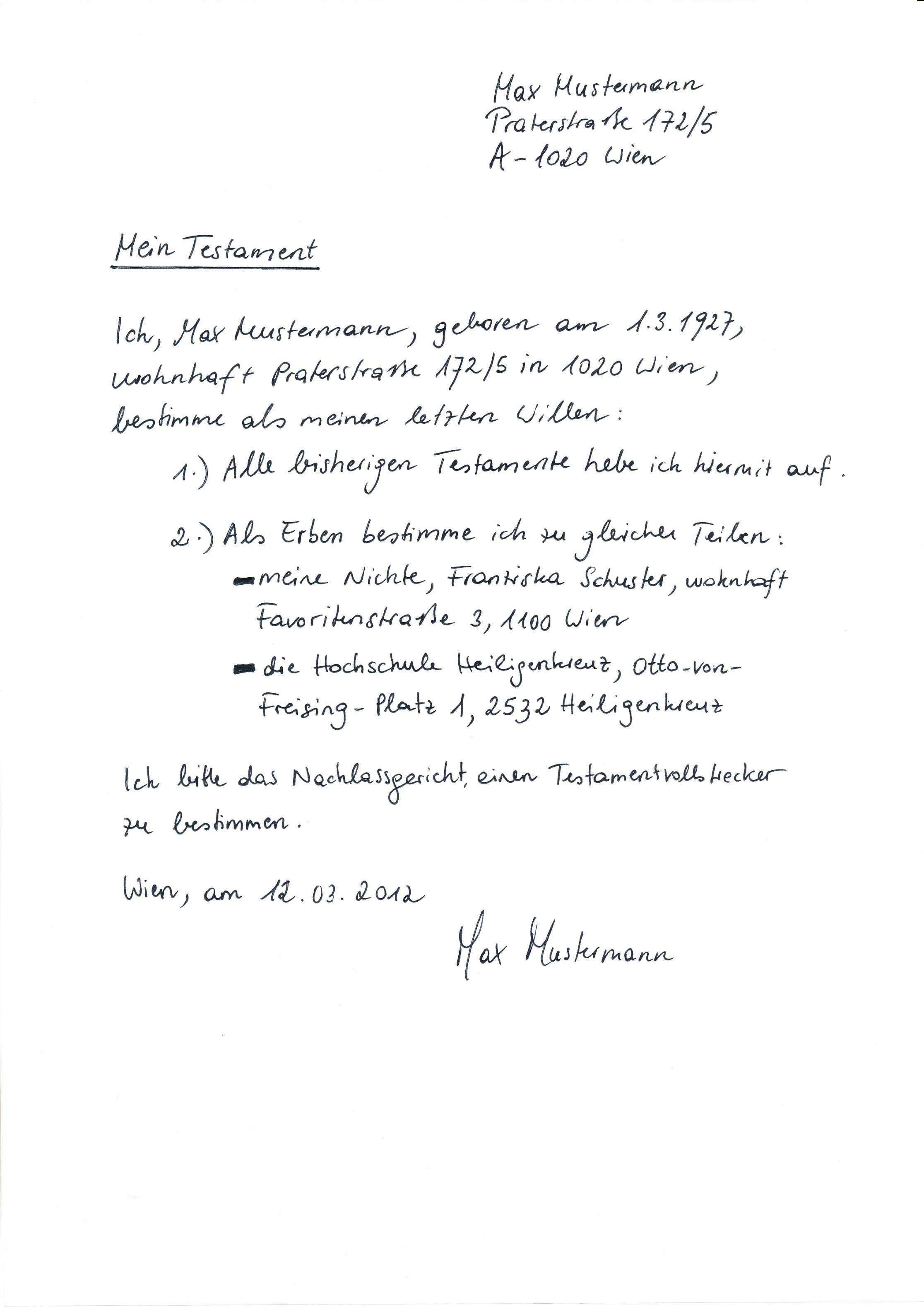 Handschriftliches Testament Vorlage Vorlagen Bewerbung Schreiben Entschuldigung Schreiben