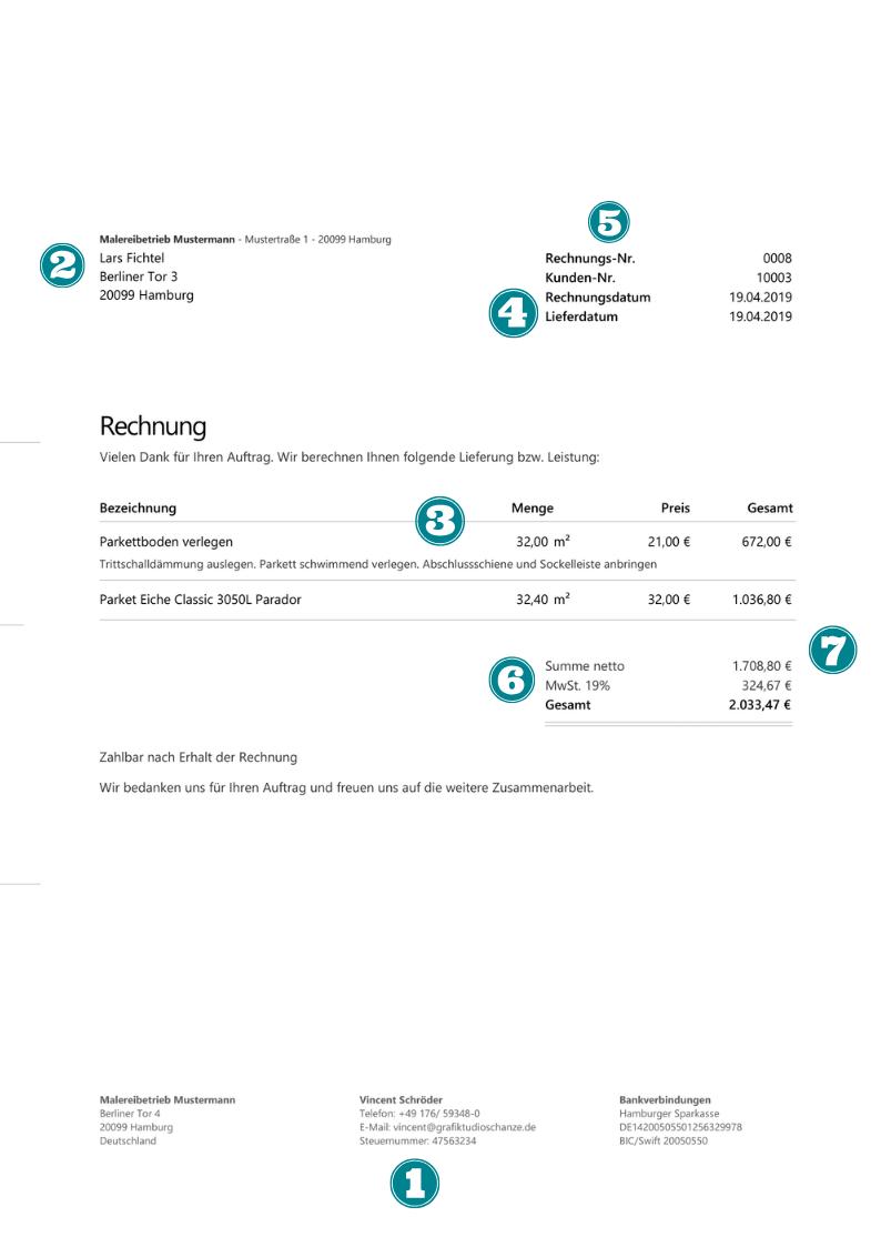 Handwerkerrechnung Muster Professionell Und Rechtssicher Zum Download
