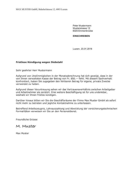 Kundigungsvorlagen Schweiz Arbeit Wohnung Abo Muster Vorlage Ch