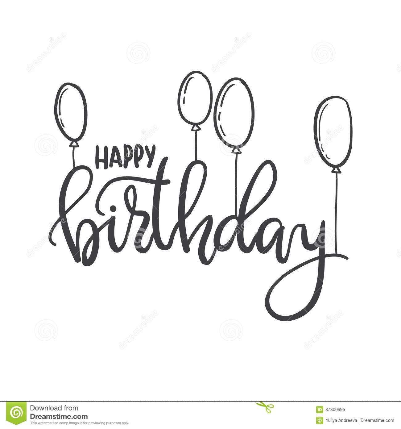 Happy Birthday Hand Lettering Typography Template For Posters Happy Birthday Hand Lettering Happy Birthday Posters Happy Birthday Calligraphy