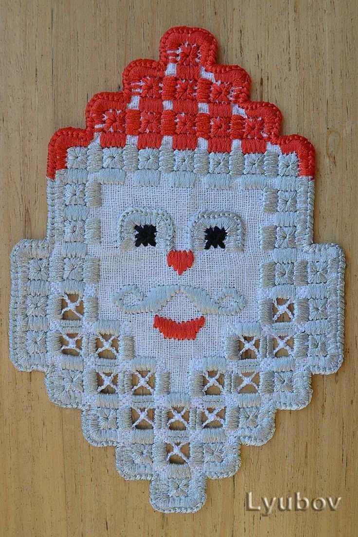 Large Santa Claus Free Hardanger Embroidery Jpg Stickerei Stickmaschine Hardanger Stickerei Stickmaschinenmuster