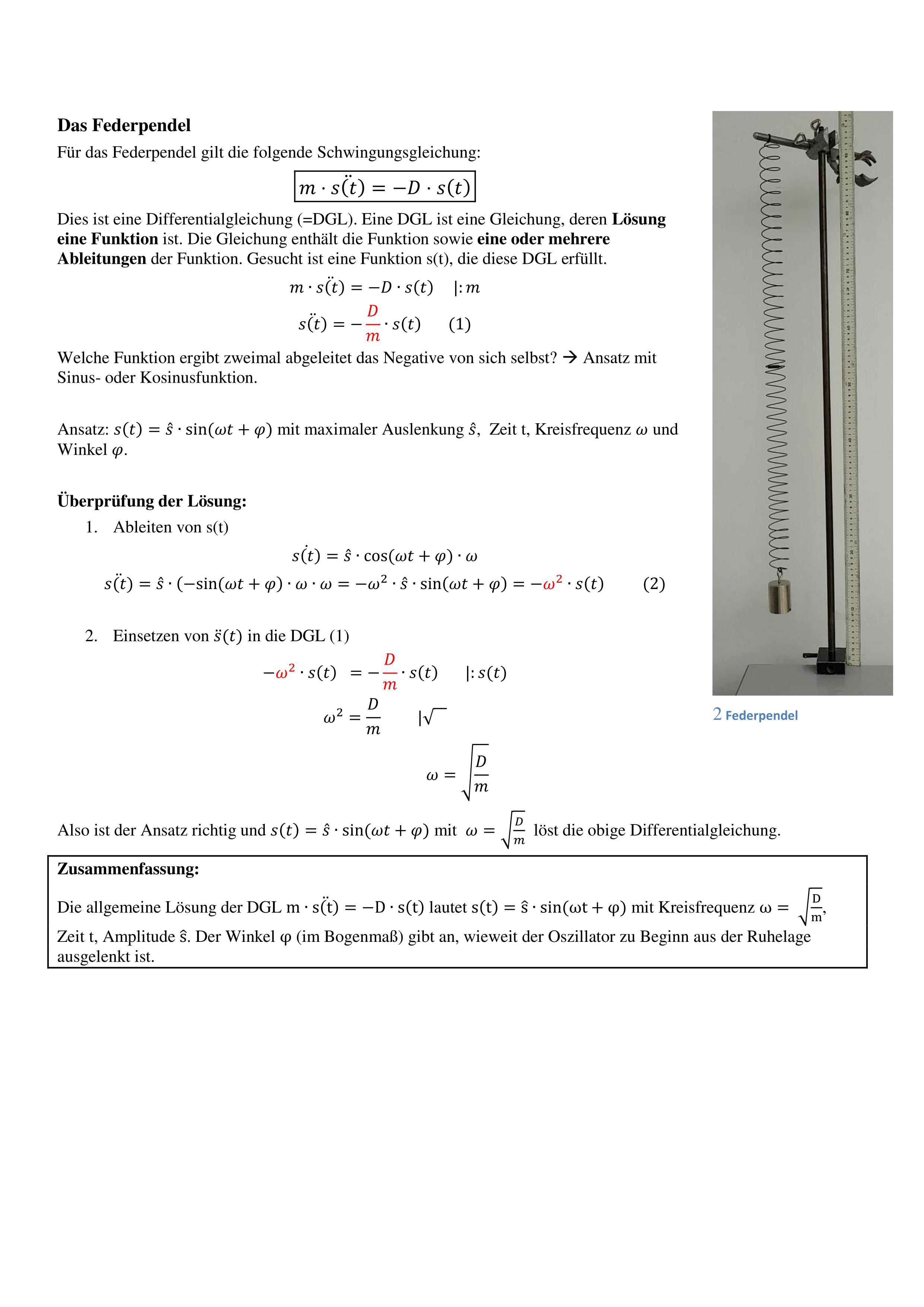 Mechanische Schwingungen Physik Gleichung Mechanik