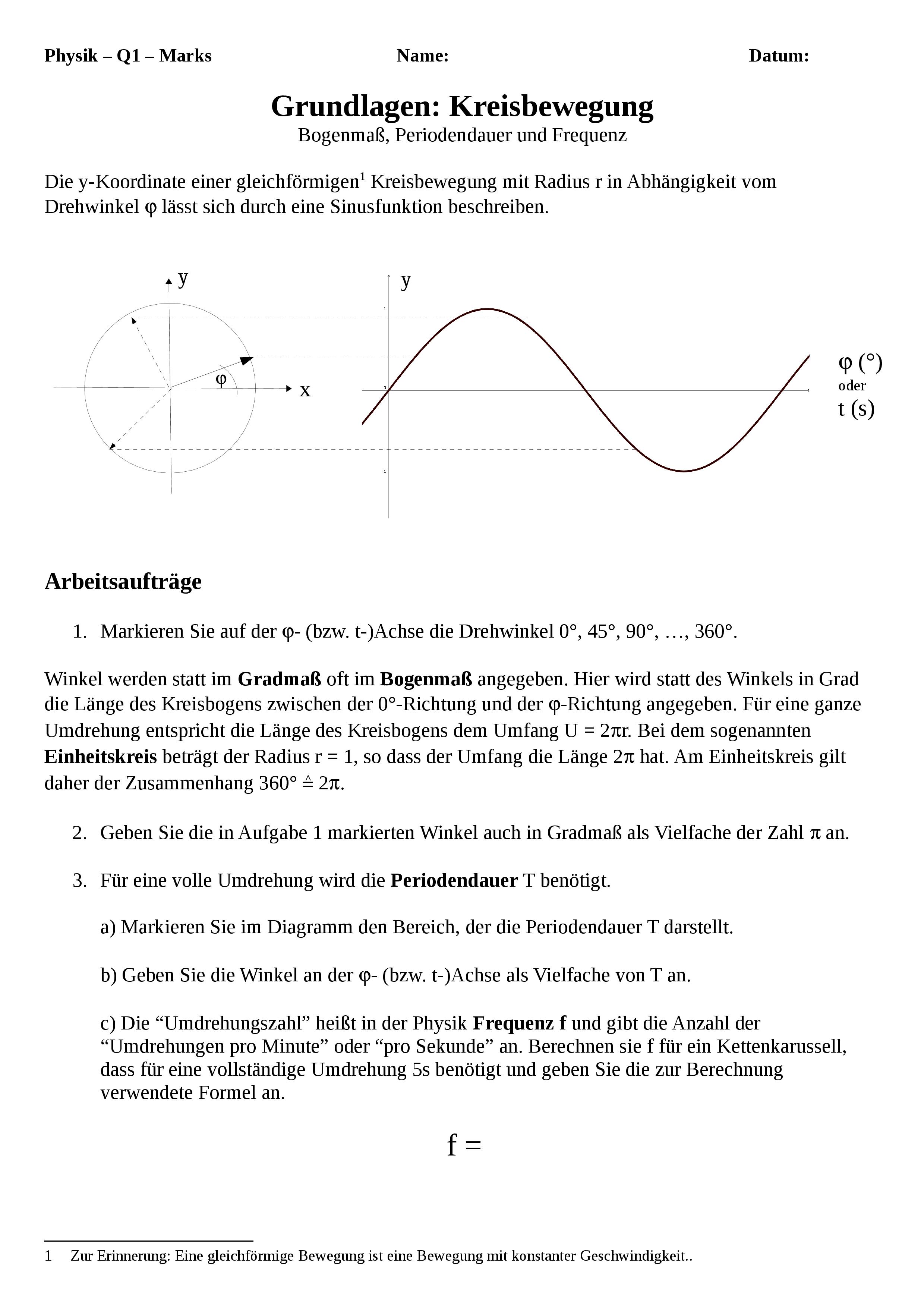 Kreisbewegung Und Harmonische Schwingung Wiederholung Der Kenngrossen Unterrichtsmaterial In Den Fachern Mathematik Physik Mathematikunterricht Bewegung Mathematik