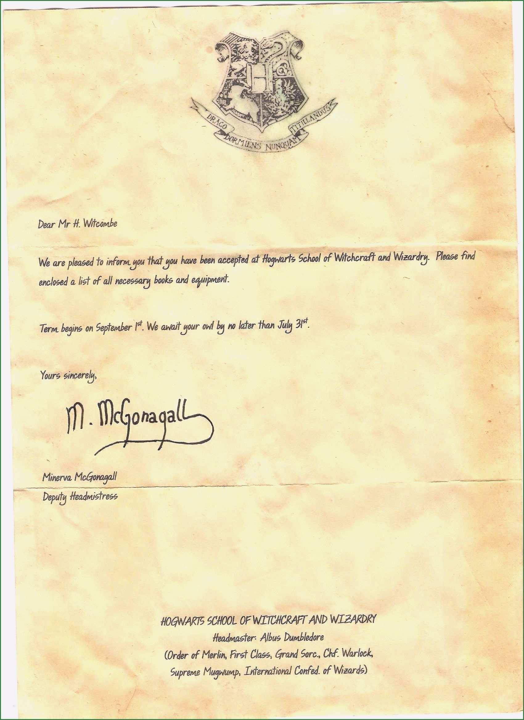 18 Hervorragend Hogwarts Brief Vorlage Das Dauert Nicht Lange Hogwarts Brief Hogwarts Brief