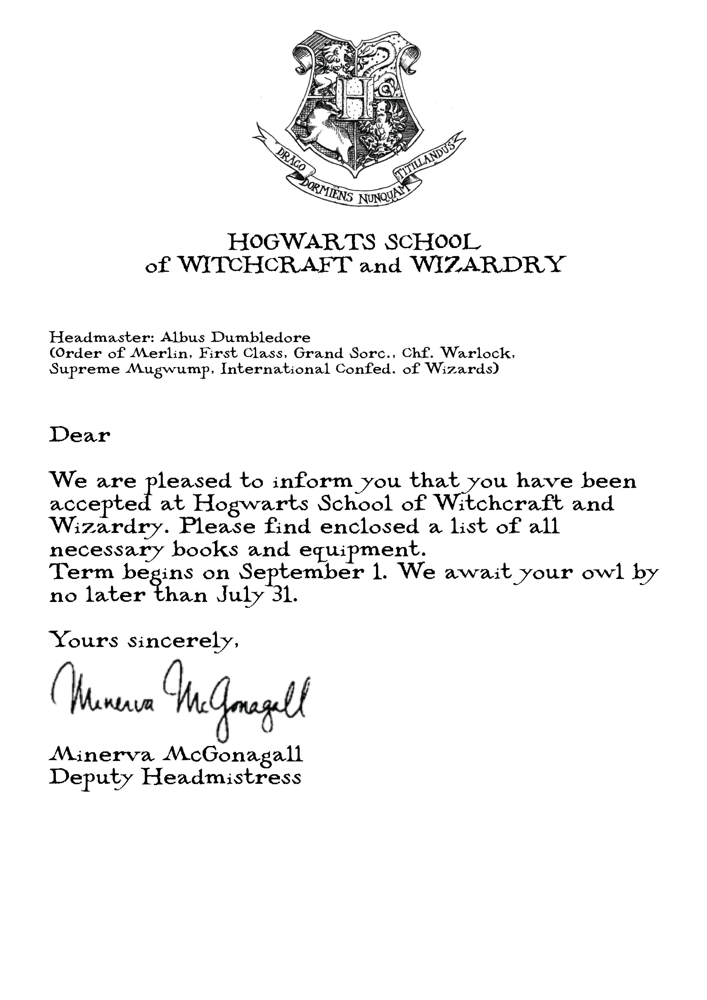Harry Potter Hogwarts Acceptance Letter Hogwarts Acceptance Letter Harry Potter Birthday Harry Potter Theme