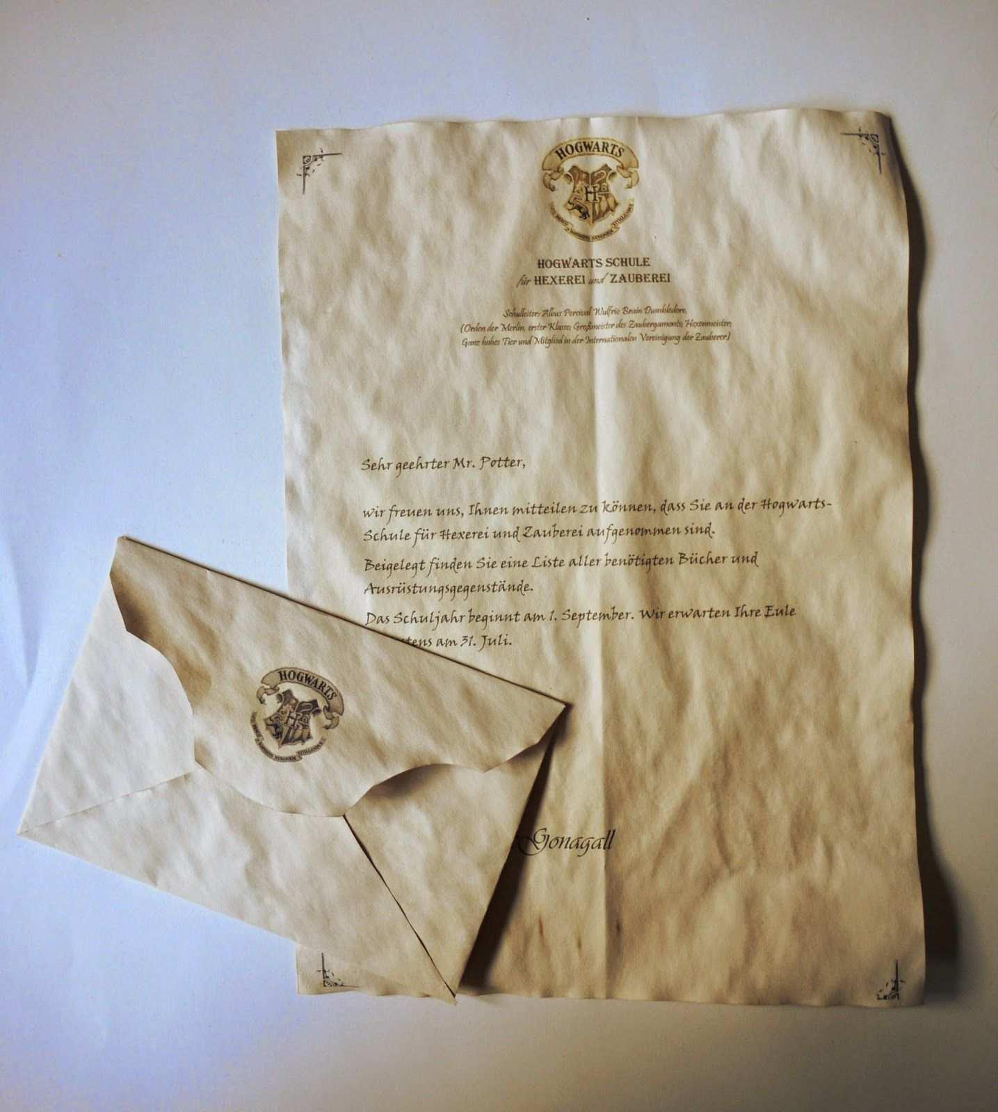 Mein Hogwarts Brief Diy Selber Machen Hogwarts Brief Harry Potter Geschenke