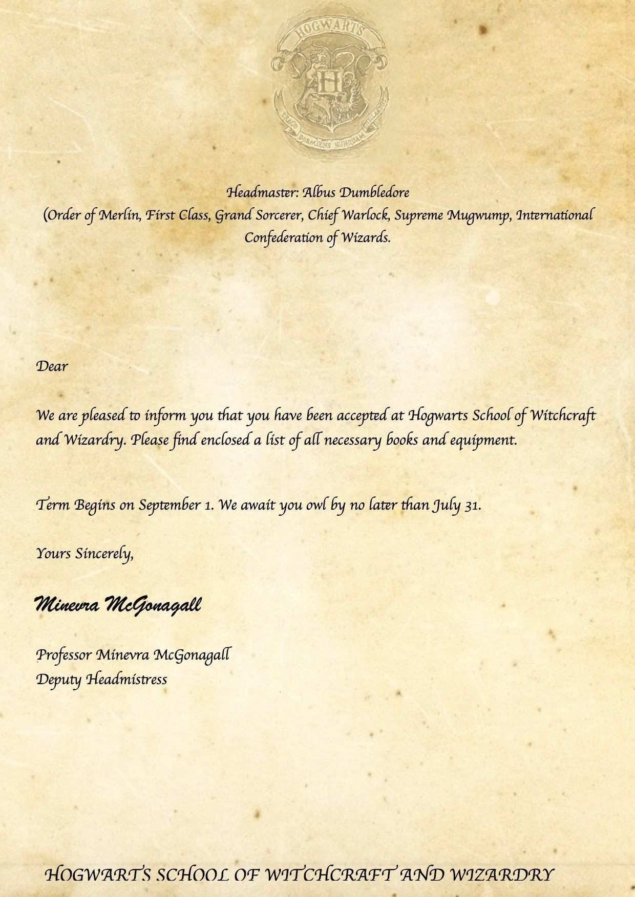 Hogwarts Acceptance Letter Template Printable Beautiful 15 Hogwarts Brief Vorlage Wo Harry Potter Letter Harry Potter Printables Harry Potter Acceptance Letter