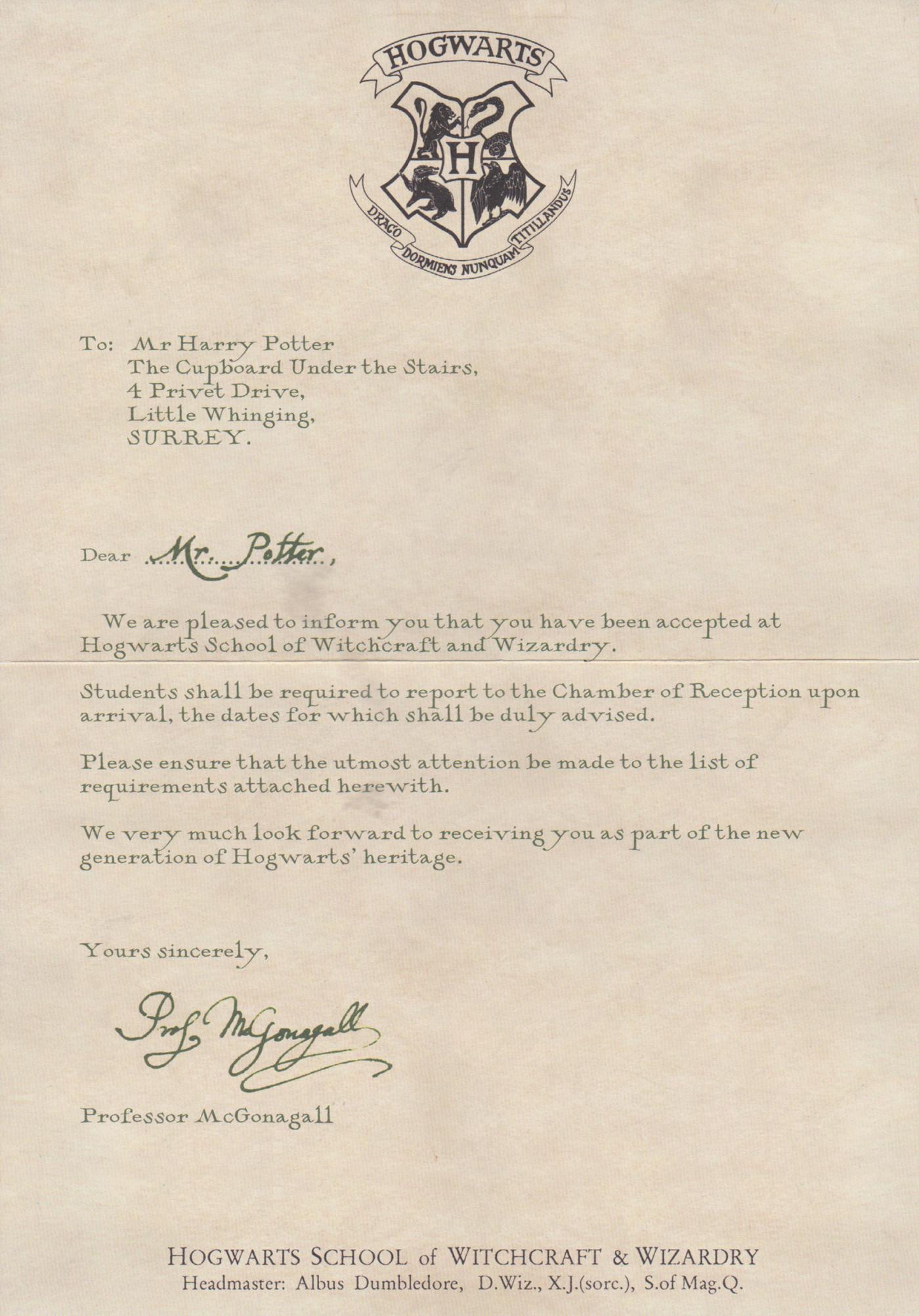 Dear Mr Potter Hp Film Wizardry Extra Harry Potter Buchstaben Hogwarts Brief Harry Potter Thema