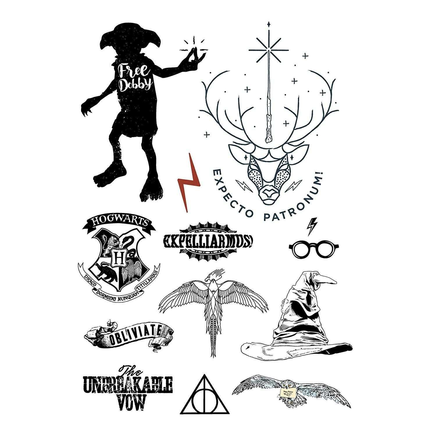 Harry Potter Tattoos Temporary Idea Styles Offizielle Tattoo Cinereplicas Ad Harry Potter Zeichnungen Harry Potter Bilder Harry Potter Tattoos