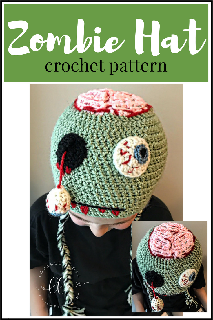 Kostenlose Zombie Hat Crochet Pattern Hakelmutzenmuster Hakelmutze Halloween Hakeln