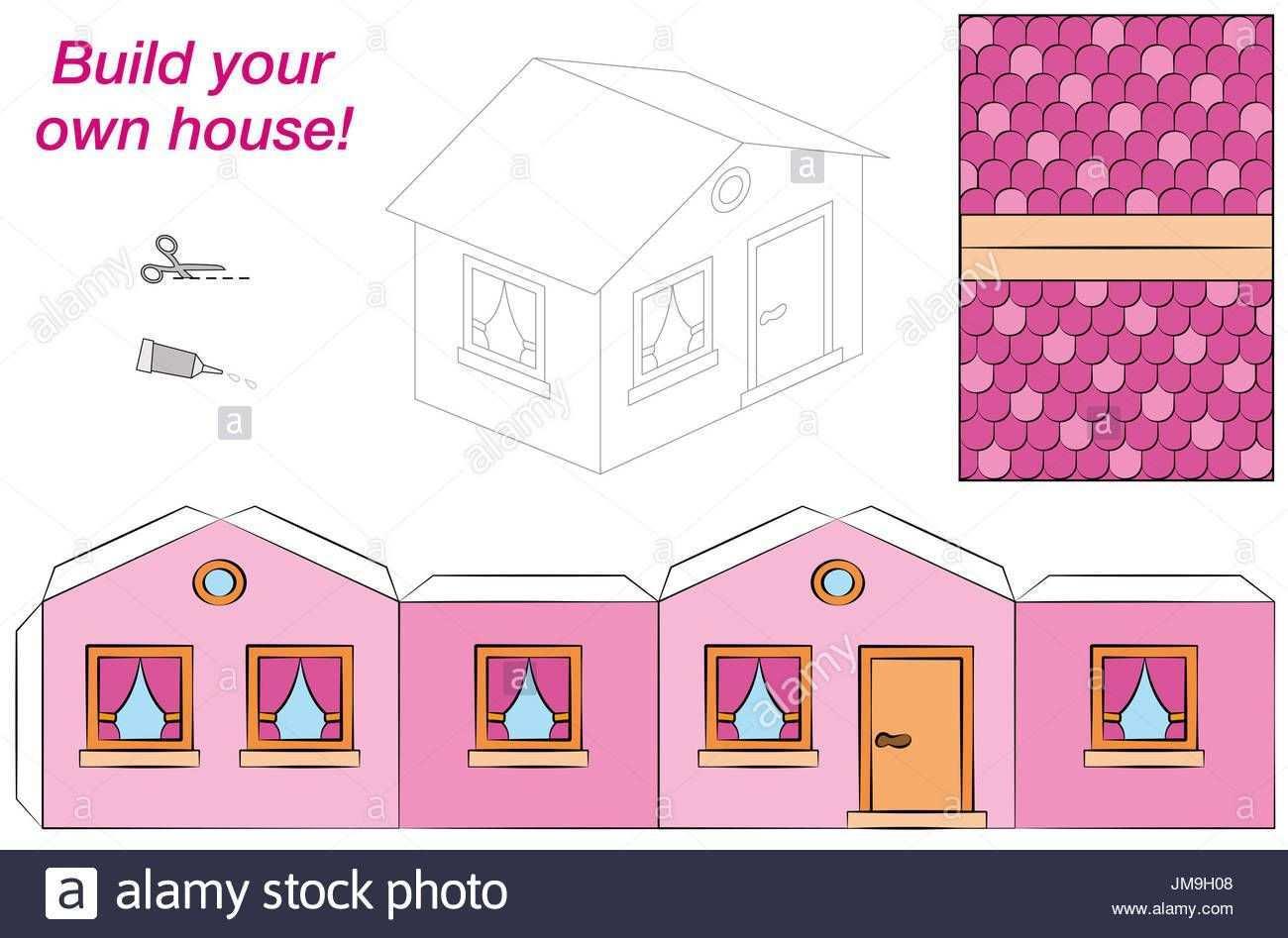 Haus Vorlage Susse Rosa Comic Hutte Ausschneiden Falten Und Inside Basteln Mit Papier Vorlagen Schachtel Basteln Karton Basteln