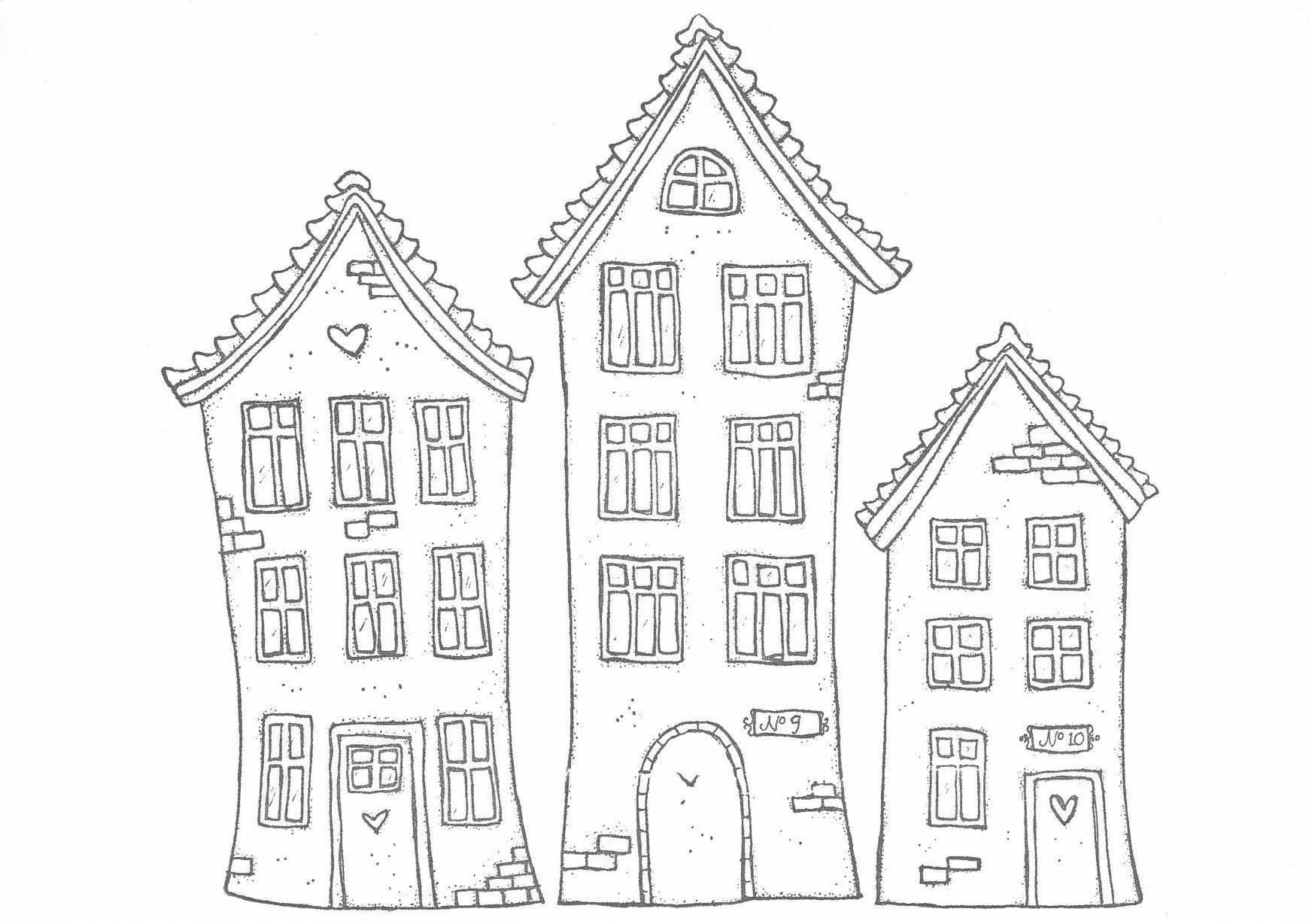 Really Cute Houses Print Them Out Ausmalbilder Digitale Stempel Haus Malen