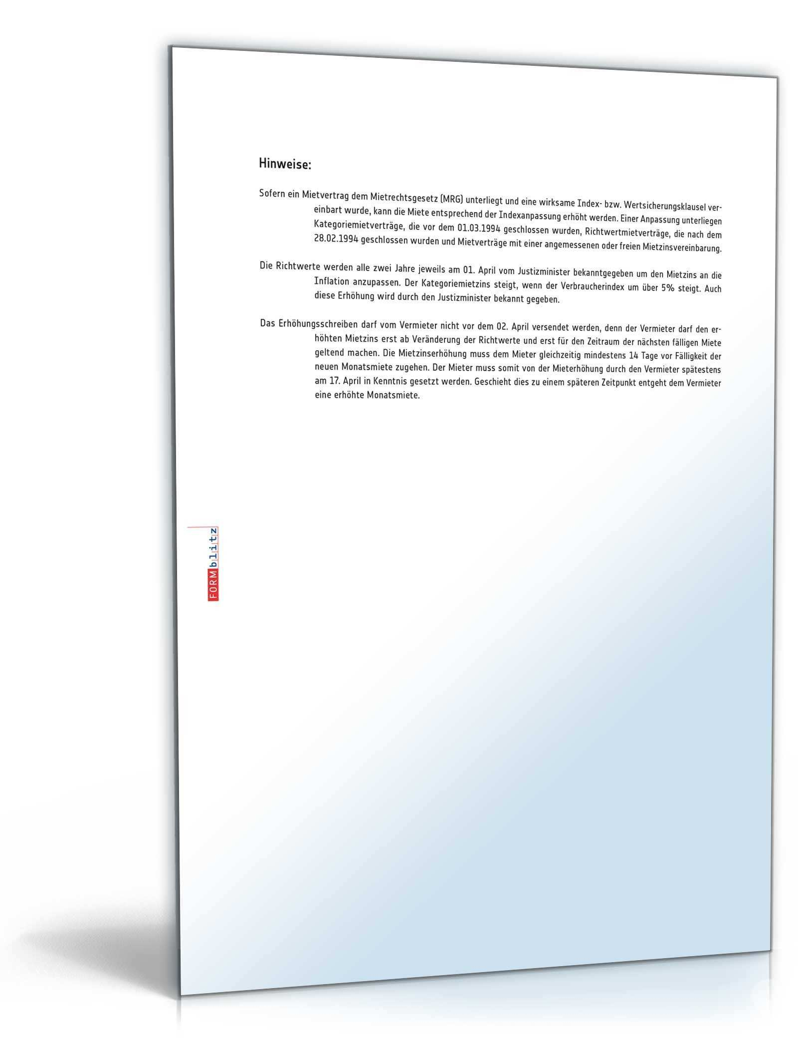 Ankundigung Mieterhohung Muster Zum Download