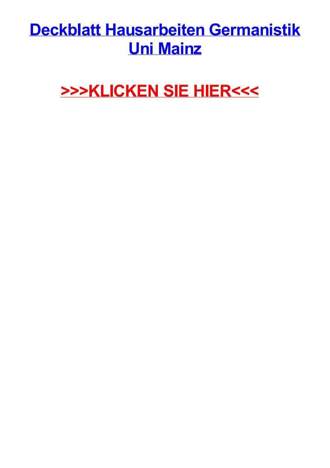 Deckblatt Hausarbeiten Germanistik Uni Mainz By Lisawhns Issuu