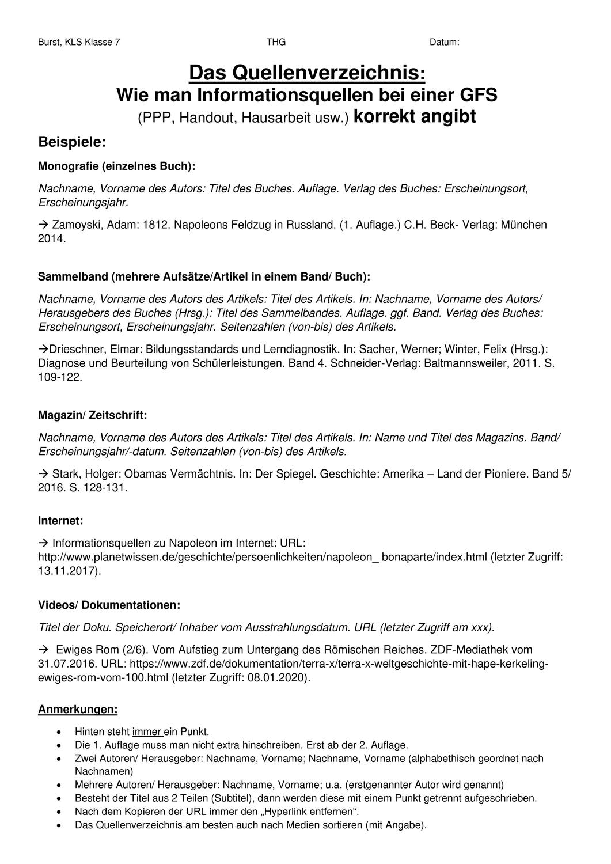 Richtig Zitieren Und Quellen Angeben Quellenverzeichnis Richtig Zitieren Handout Zitieren