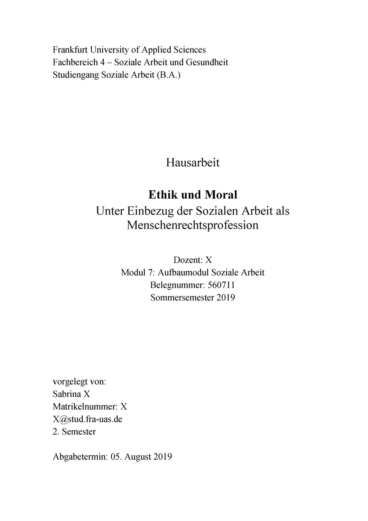 Hausarbeit Ethik Und Moral Studocu