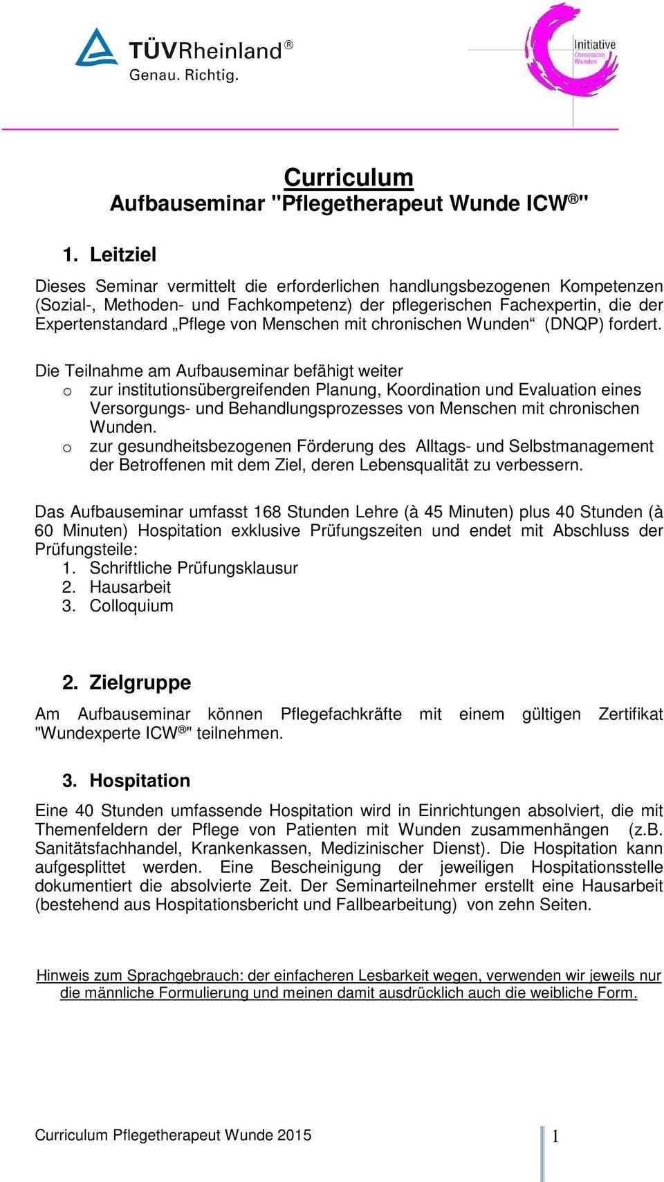 Curriculum Aufbauseminar Pflegetherapeut Wunde Icw Pdf Free Download