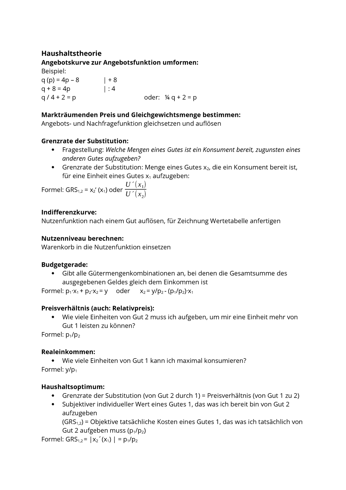 Formelsammlung Zur Berechnung Studocu