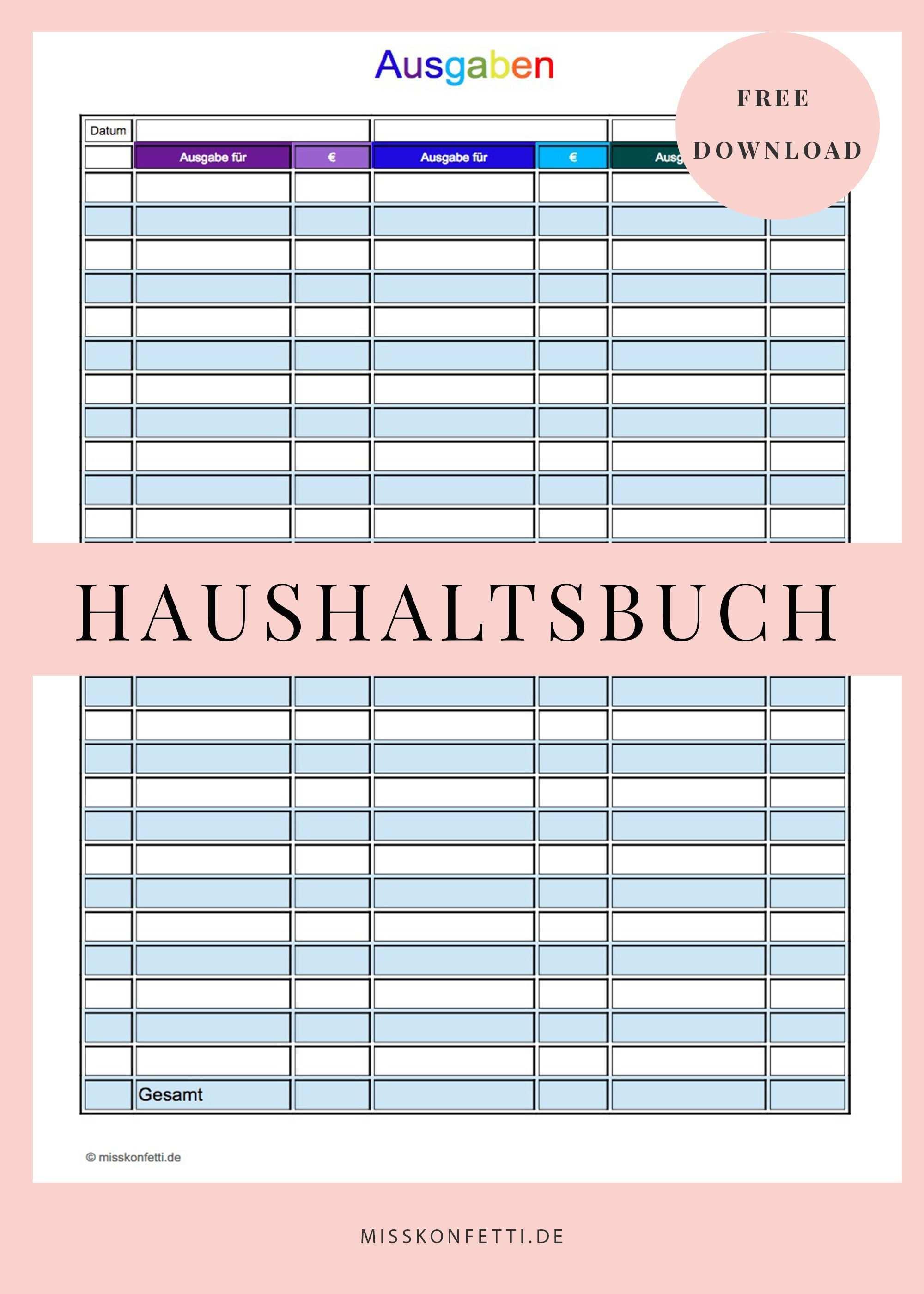 Finanzen Im Griff Mit Dem Haushaltsbuch Miss Konfetti Haushaltsbuch Haushaltsbuch Vorlage Haushaltsbuch Excel Vorlage