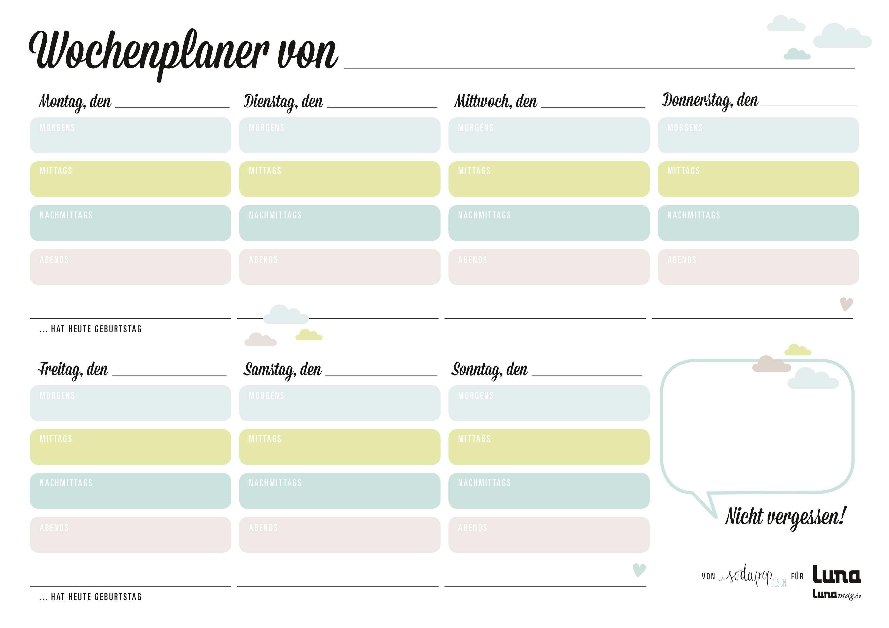 Wochenplaner Zum Download Planer Wochen Planer Planer Vorlagen