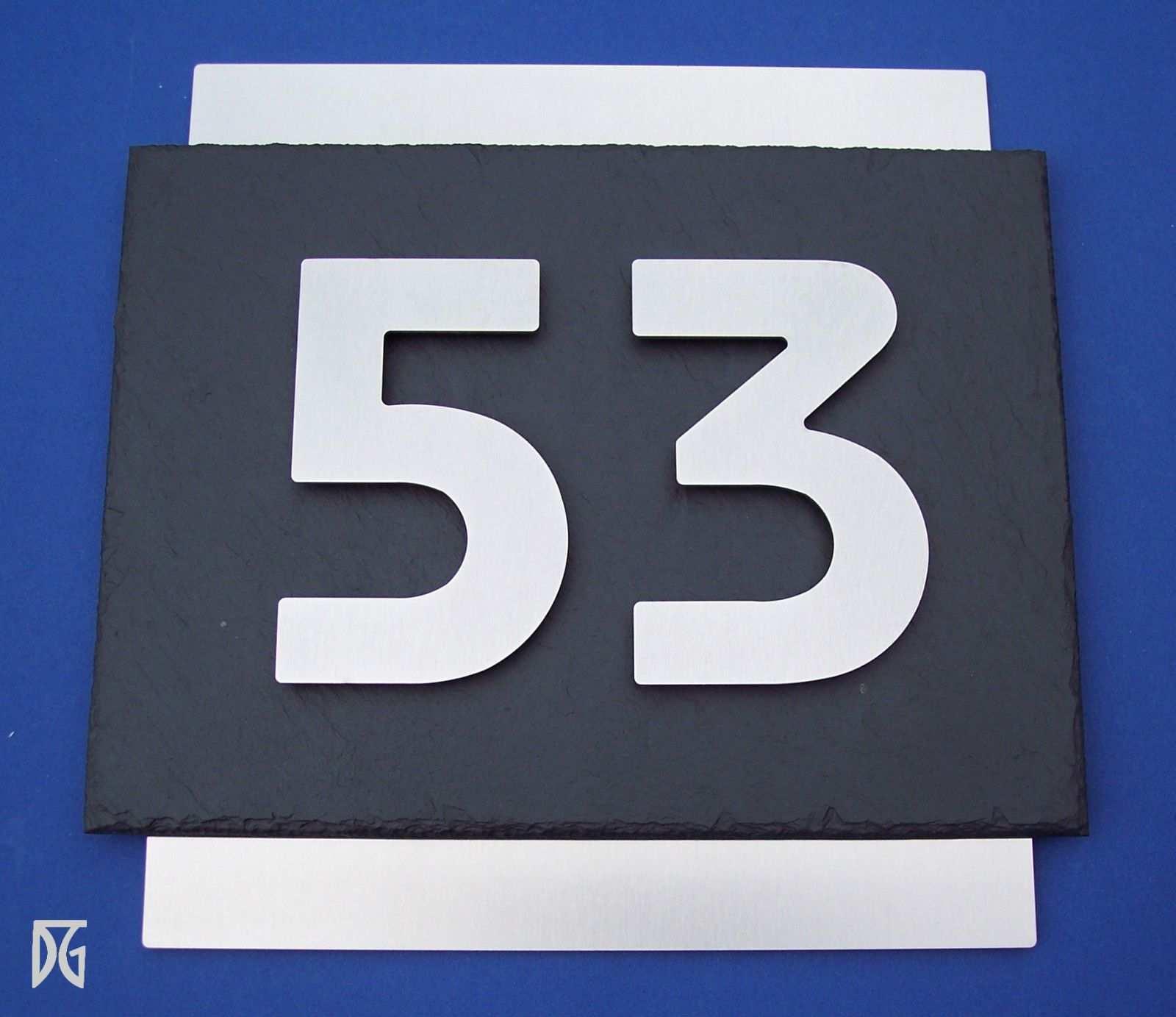 Hochwertiges 3d Hausnummernschild Turschild Aus Edelstahl Und Schiefer Ebay Hausnummernschild Turschilder Und Edelstahl