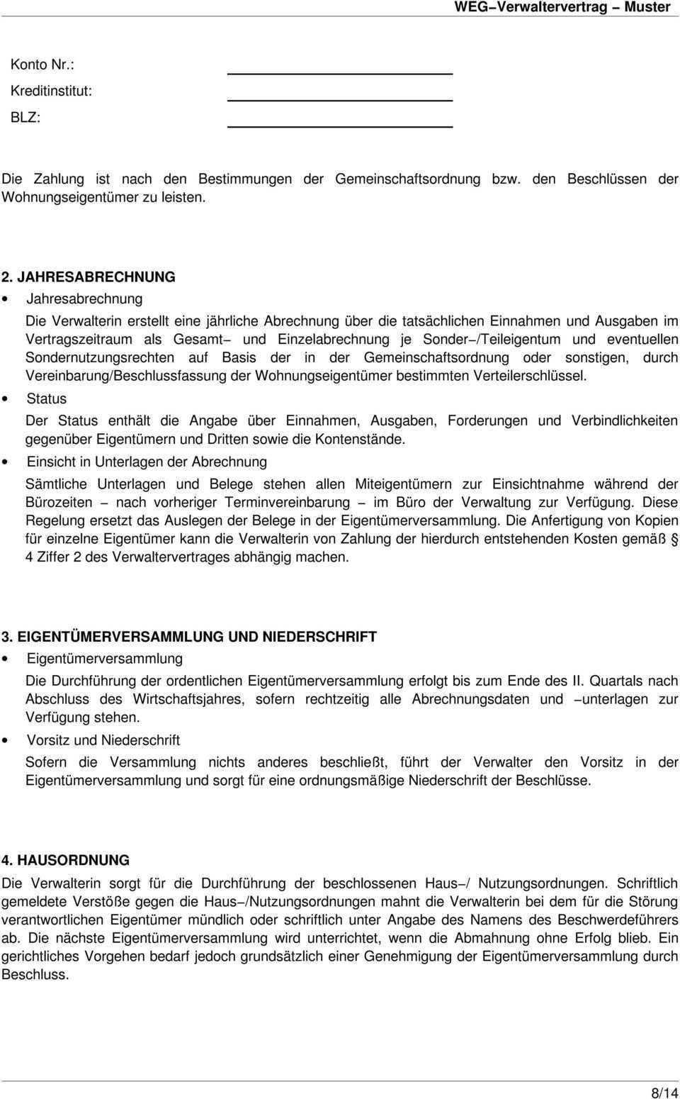 Weg Verwaltervertrag Weg Verwaltervertrag Muster Zwischen Der Wohnungseigentumergemeinschaft Pdf Kostenfreier Download