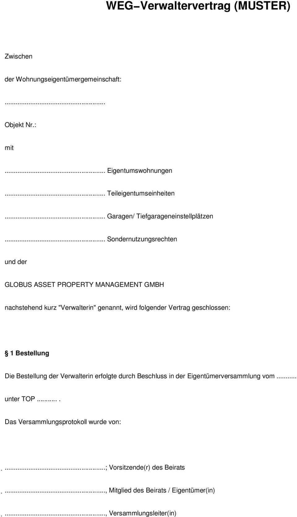 Weg Verwaltervertrag Muster Pdf Free Download