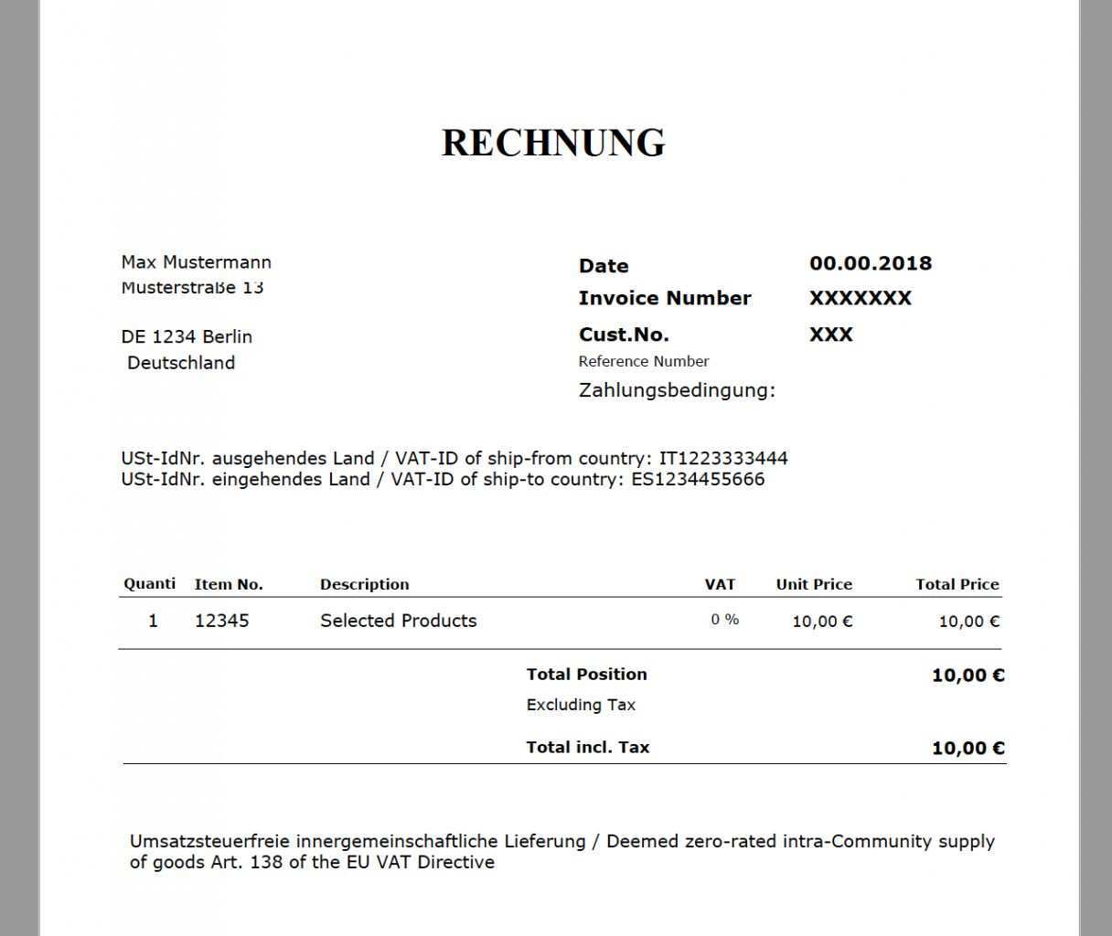Scrollen Unsere Druckbar Von Reverse Charge Rechnung Vorlage Rechnung Vorlage Rechnungsvorlage Vorlagen
