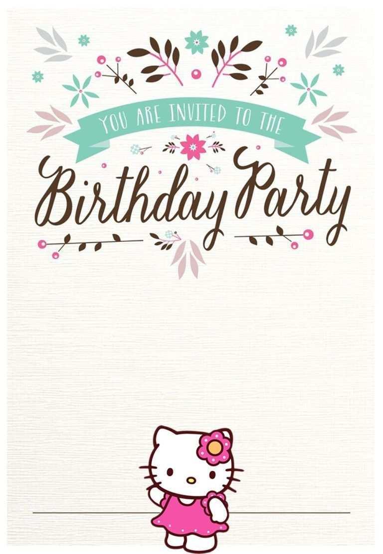 Free Hello Kitty Birthday Party Invitation Cat Birthday Party Invitations Hello Kitty Invitations Hello Kitty Invitation Card
