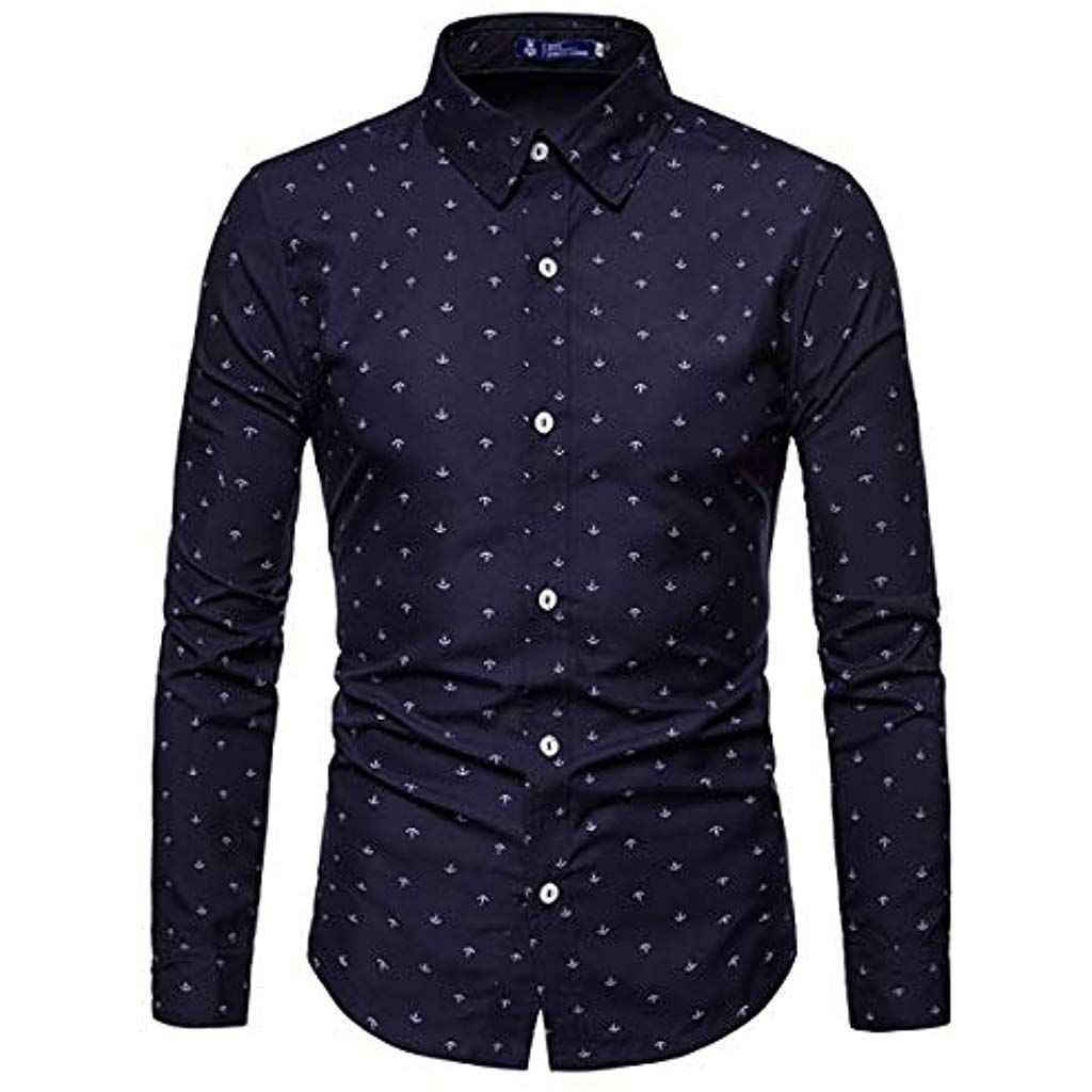 Aowofs Herren Hemd Langarm Regular Fit Freizeithemd Aus Baumwolle Mit Anker Muster Bekleidung Herren Top Mens Shirts Sale Print Buttons Mens Clothing Styles
