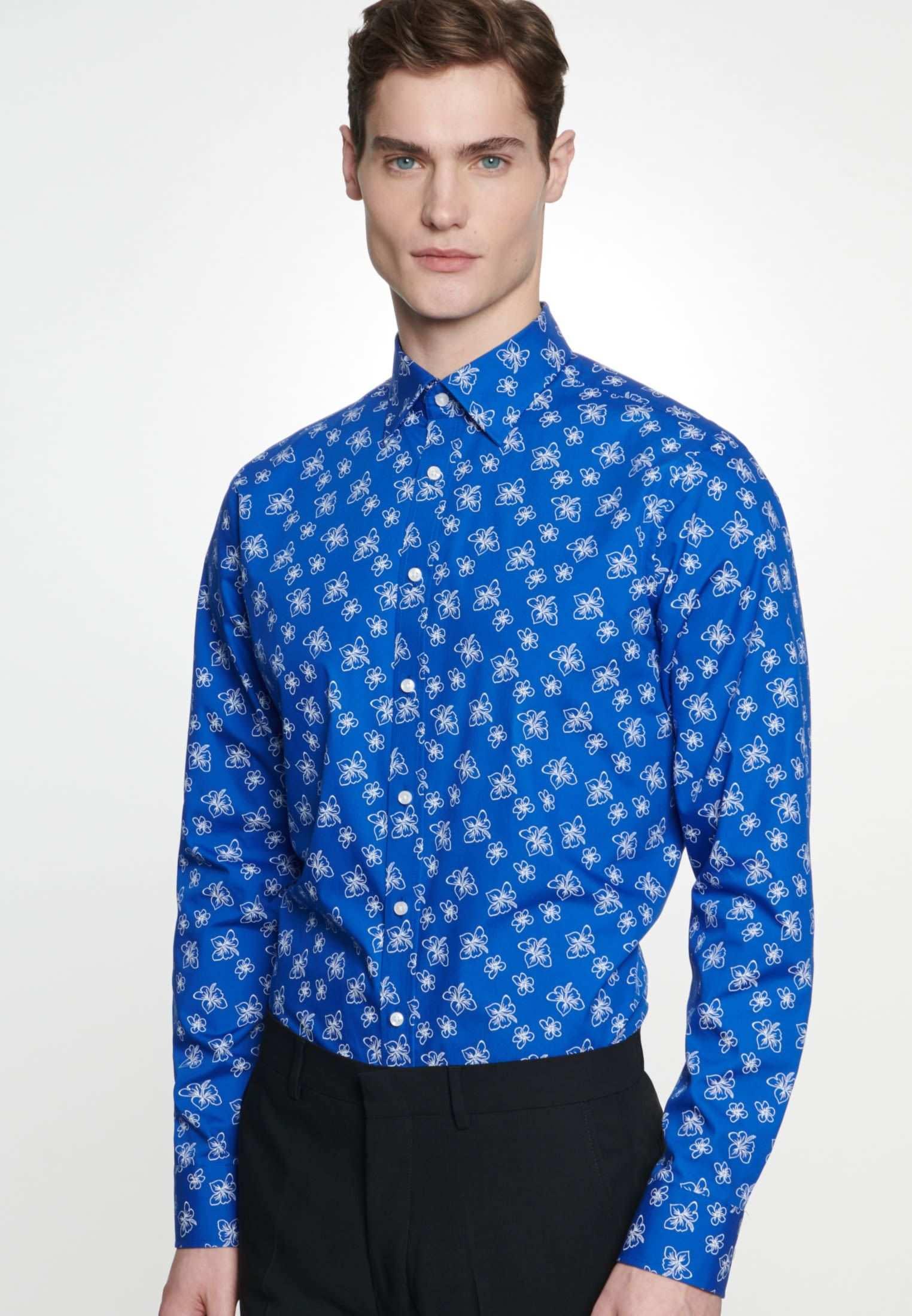 Herren Bugelleichtes Popeline Business Hemd In Slim Mit Covered Button Down Kragen Mittelblau 01 694112 0015 Seidensticker Hemd Button Down Kragen Seidensticker Hemd