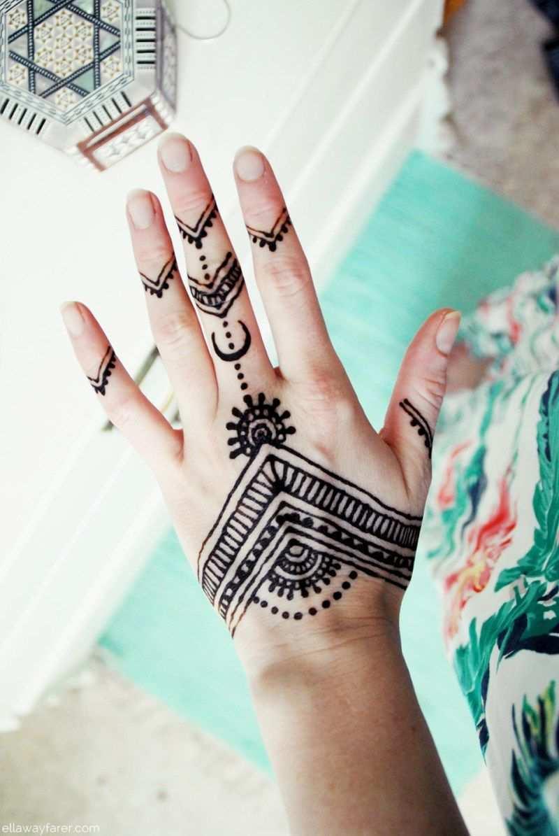 Blumenkleid Und Henna Tattoo Auf Der Hand Henna Hande Tattoo Henna Henna Tattoo Hand