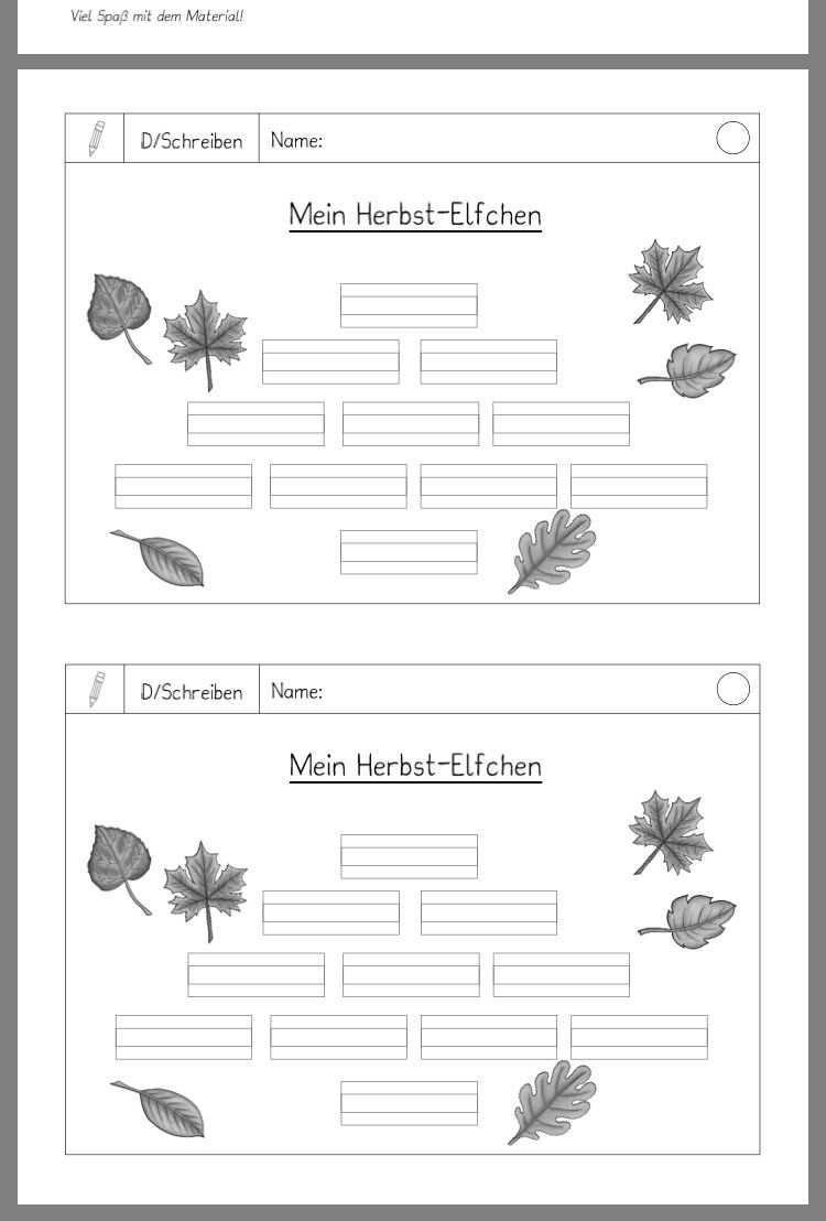 Herbst Elfchen Deutsch Schreiben Gedicht Grundschule Elfchen