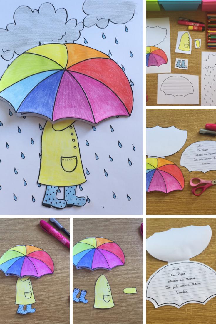Regenschirm Craftivity Fur Elfchen Gedichte Oder Kleine Schreibanlasse Herbst Und Regen Deutsch Kun Kunstprojekte Fruhling Kunstprojekt Fur Kinder Elfchen