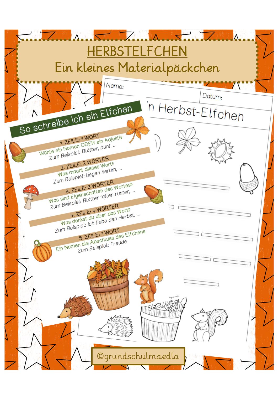 Kleines Materialpackchen Zum Thema Herbstlichen Unterrichtsmaterial In Den Fachern Deutsch Fachubergreifendes Elfchen Unterrichtsmaterial Elfchen Schreiben